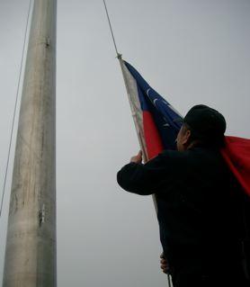Taiwan Flagge einholen