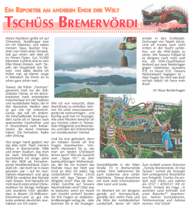 Zeitungsartikel Taiwan