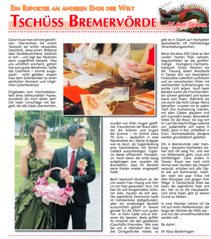 Taiwan Heiraten Hochzeit Kolumne