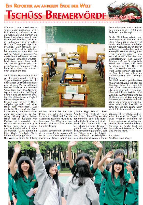 Zeitungsartikel: Schüler in Taiwan