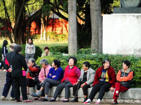 Taiwan elderly women in park