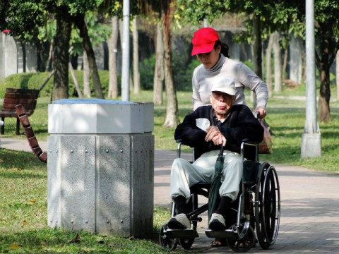 Taiwan elderly person, wheelchair, caretaker