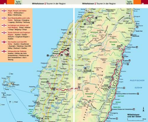Taiwan Reiseführer Urlaub Karte