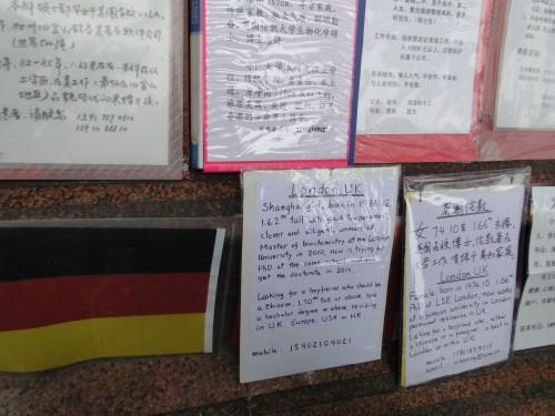 Shanghai Heiratsmarkt Aushang