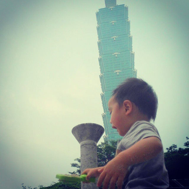 Little boy, big building.