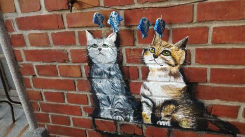 Katzen und Fische Wandbild Tainan