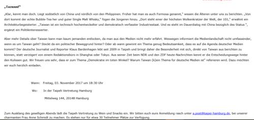 Taiwan-Vortrag Hamburg